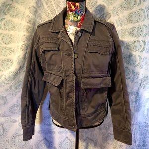 Solid Gray Multi Pocket Quilt Lined Vintage Jacket